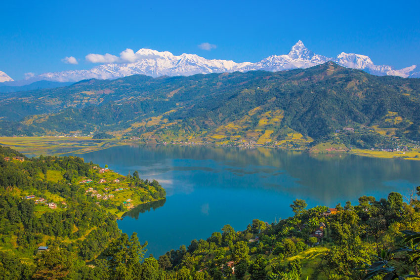 Lake city of Nepal Pokhara and Annapurna Massif
