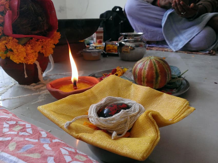 Worshiping Lord Shaligram